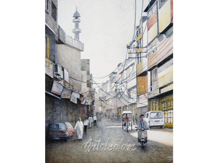 Old Delhi 10 Oil On Canvas