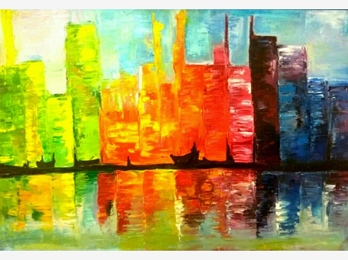City Scape Hand made Knife Paintings
